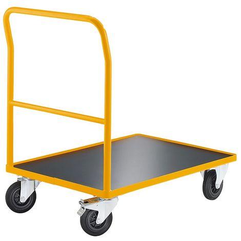 QUIPO Chariot plate-forme, force 350 kg - barre de poussée soudée - L x l plateaux 1240 x 790 mm