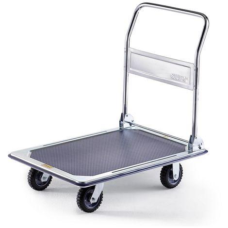 QUIPO Chariot plate-forme professionnel - force 300 kg - galvanisé/chromé, roues caoutchouc