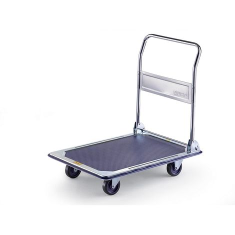 QUIPO Chariot plate-forme professionnel - force 300 kg - galvanisé/chromé, roues en PU