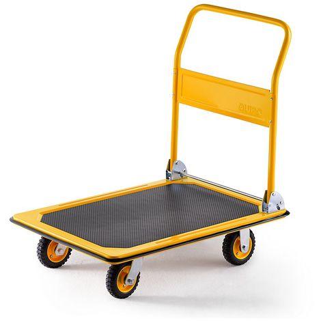 QUIPO Chariot plate-forme professionnel - force 300 kg - jaune melon, roues caoutchouc