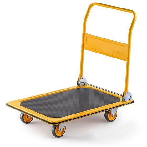 QUIPO Chariot plate-forme professionnel - force 300 kg - jaune melon, roues en PU