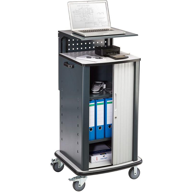 QUIPO Chariot pour ordinateurs portables - avec rideau - anthracite RAL 7016 - Coloris corps: gris anthracite RAL 7016
