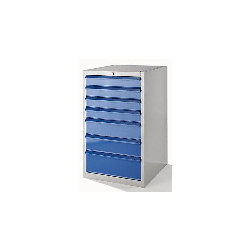QUIPO Armoire à outils, l x p 600 x 600 mm - hauteur 1000 mm, 7 tiroirs - gris clair / bleu clair - Coloris tiroirs: Bleu clair RAL 5012