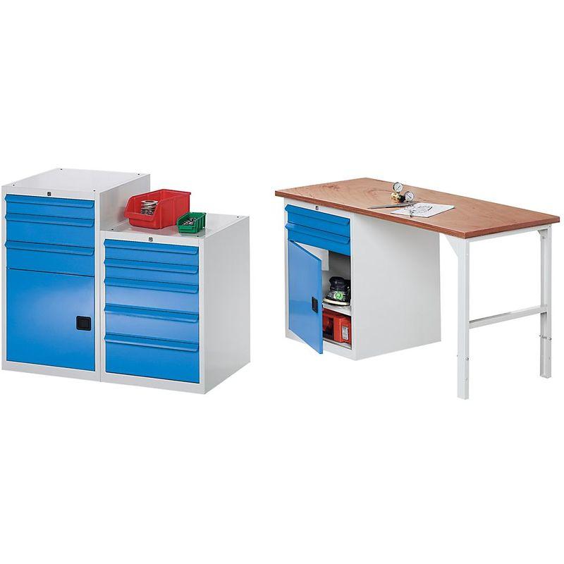 QUIPO Armoire à outils, l x p 600 x 600 mm - hauteur 800 mm, 4 tiroirs - gris clair / bleu clair - Coloris tiroirs: Bleu clair RAL 5012