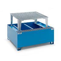 QUIPO Cuve de rétention en acier pour cubitainers IBC/KTC, pour 1 cubitainer de 1000l peinture époxy bleu RAL 5012