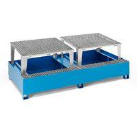 QUIPO Cuve de rétention en acier pour cubitainers IBC/KTC, pour 2 cubitainers de 1000l peinture époxy bleu RAL 5012