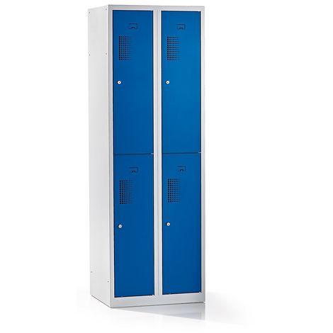 QUIPO – Vestiaire à 4 compartiments, largeur 600 mm - h x p 1800 x 500 mm, bleu gentiane