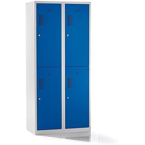 QUIPO – Vestiaire à 4 compartiments, largeur 800 mm - h x p 1800 x 500 mm, bleu gentiane