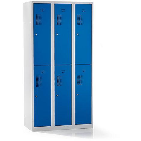 QUIPO – Vestiaire à 6 compartiments, largeur 900 mm - h x p 1800 x 500 mm, bleu gentiane