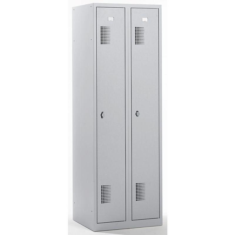 QUIPO Vestiaire - largeur 600 mm, 2 compartiments de 298 mm, dispositif porte-cadenas - entièrement gris clair - Coloris des portes: Gris clair