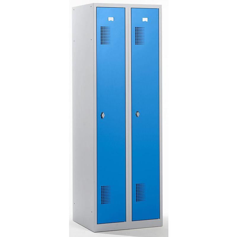 QUIPO Vestiaire - largeur 600 mm, 2 compartiments de 298 mm, dispositif porte-cadenas - corps gris clair / portes bleu - Coloris des portes: Bleu