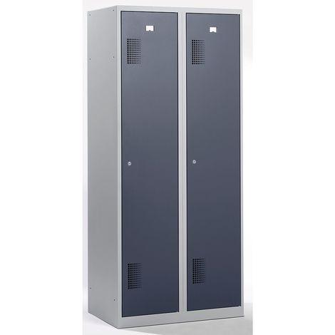 QUIPO Vestiaire - largeur 600 mm, 2 compartiments de 298 mm, serrure à cylindre - corps gris clair, portes gris basalte