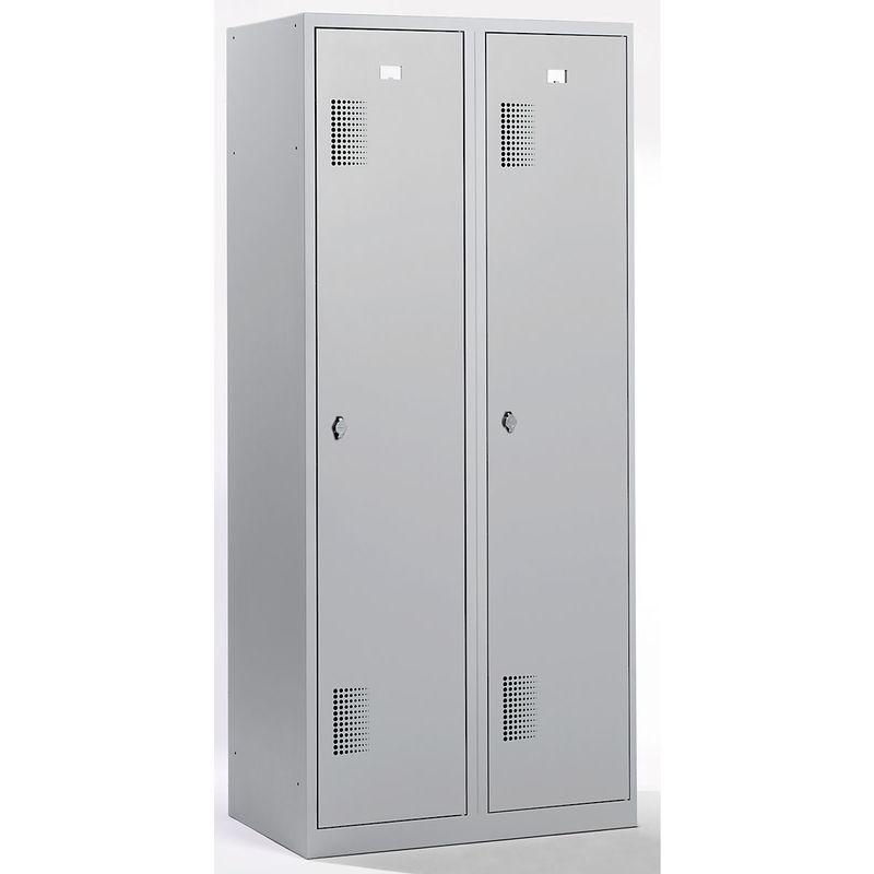 QUIPO Vestiaire - largeur 800 mm, 2 compartiments de 398 mm, dispositif porte-cadenas - entièrement gris clair - Coloris des portes: Gris clair