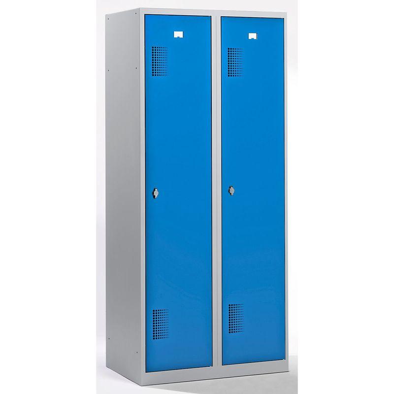 QUIPO Vestiaire - largeur 800 mm, 2 compartiments de 398 mm, dispositif porte-cadenas - corps gris clair / portes bleu - Coloris des portes: Bleu