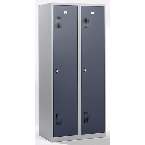 QUIPO Vestiaire - largeur 800 mm, 2 compartiments de 398 mm, dispositif porte-cadenas - corps gris clair / portes gris