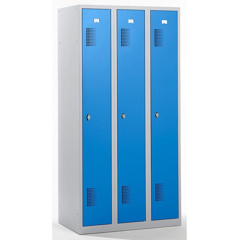 QUIPO Vestiaire - largeur 900 mm, 3 compartiments de 298 mm, dispositif porte-cadenas - corps gris clair / portes bleu - Coloris des portes: Bleu