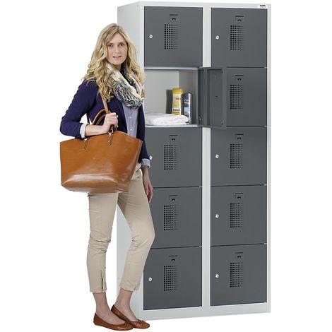 QUIPO Vestiaire multicase - largeur 600 mm, 10 tiroir - corps gris clair, portes gris basalte