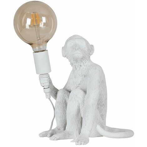 Quirky Monkey Holding Bulb Table Lamp Bedside Light Lounge Lighting Black Gold - White