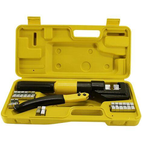 (R) Hydraulische Crimpzange für Batteriekabelanschlüsse mit Crimpwerkzeugen (10 T)