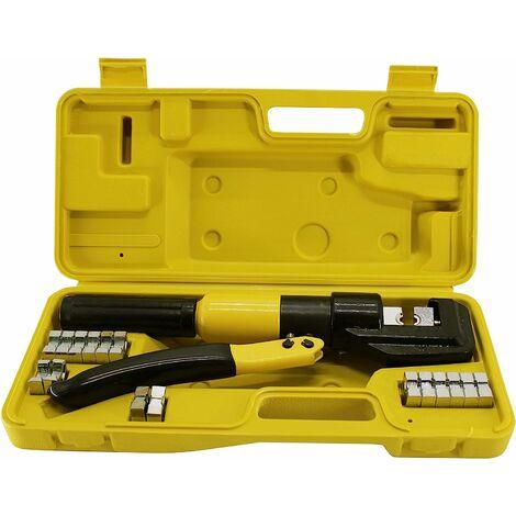 (R) Pince à sertir hydraulique pour bornes de câbles de batterie avec outils de sertissage (10 T)