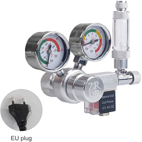 R100 aquarium gaz dioxyde de carbone bouteille de gaz reducteur de pression electrovanne de pression non reglable grand double metre zone europeenne W21.8 (norme europeenne)