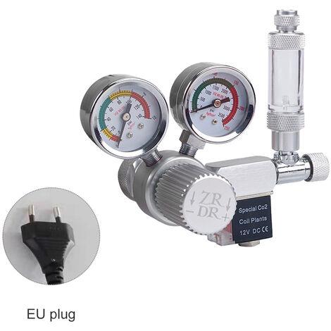 R120 Soupape de reduction de pression de cylindre de dioxyde de carbone d'aquarium electrovanne de pression reglable grand double metre europeen W21.8 (norme europeenne)