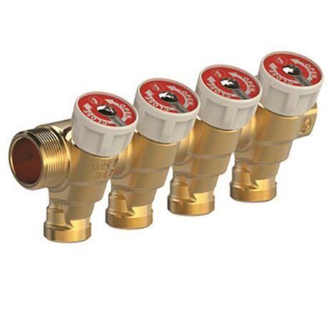 R585C - Collecteur avec robinet d?arrêt pour eau sanitaire - 4S 3/4 MF 1/2
