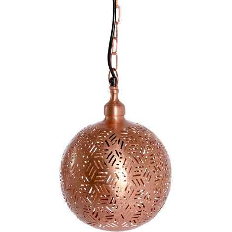 Rabat Rose Gold Hanging Lamp Ball with Hexa Etching, 20cm Dia.