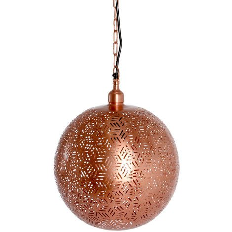 Rabat Rose Gold Hanging Lamp Ball with Hexa Etching, 30cm Dia.