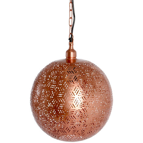 Rabat Rose Gold Hanging Lamp Ball with Hexa Etching, 40cm Dia.