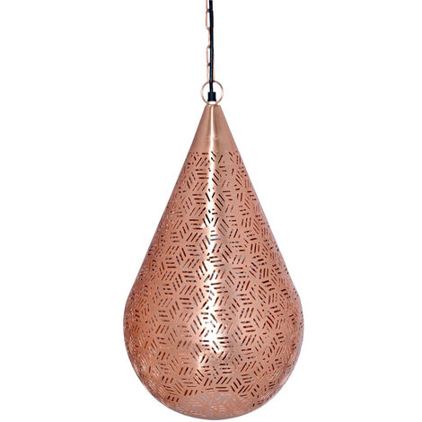 Rabat Rose Gold Hanging Lamp Drop Cone with Hexa Etching