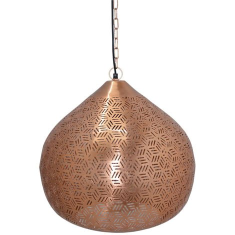 Rabat Rose Gold Hanging Lamp Lattu with Hexa Etching