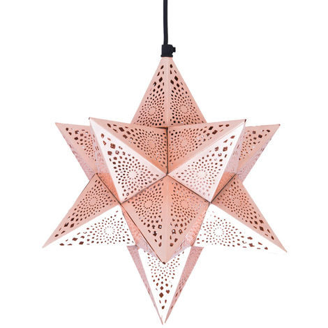 Rabat Rose Gold Hanging Lamp Star 12 Pointed with Etching