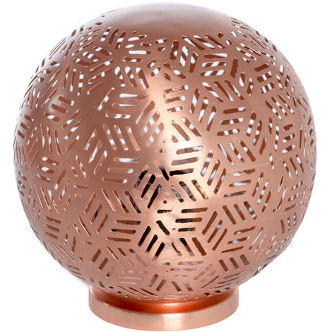Rabat Rose Gold Table Lamp Ball with Hexa Etching, 20cm Dia.