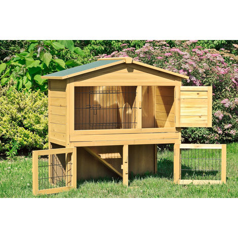 Rabbit hen house in wood 102x55x100 cm