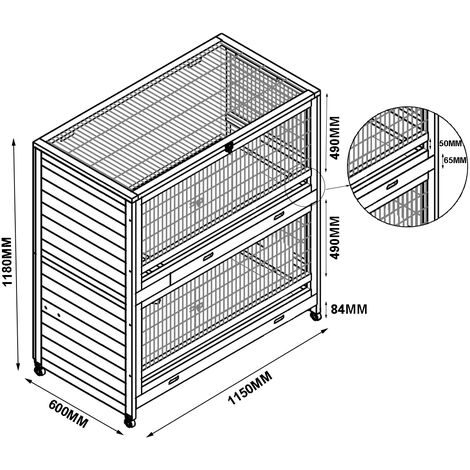 Rabbit hutch / chicken coop rabbit run, guinea pig hutch, chicken hut 115 x 60 x 118 cm