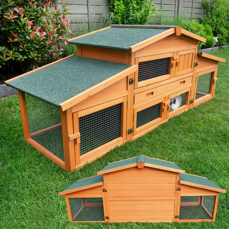 Rabbit hutch / chicken coop rabbit run, guinea pig hutch, chicken hut 180 x 62 x 72 cm
