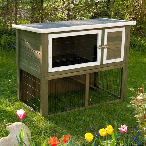 Rabbit hutch compact green with outdoor enclosure L 116 x T 63 x H 92 cm