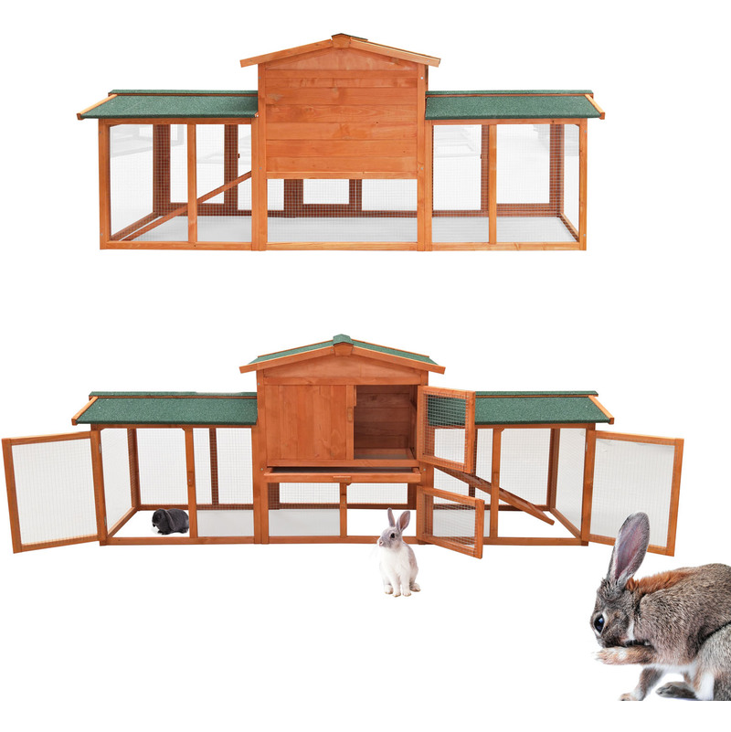 Rabbit Hutch Free Running Guinea Pig Bunny Rodent Hutches Cage