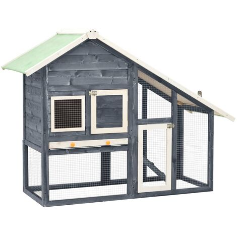 Rabbit Hutch Grey and White 140x63x120 cm Solid Firwood