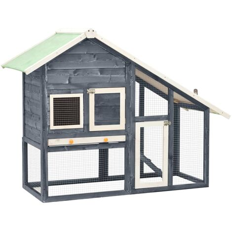 """main image of """"Rabbit Hutch Grey and White 140x63x120 cm Solid Firwood8497-Serial number"""""""