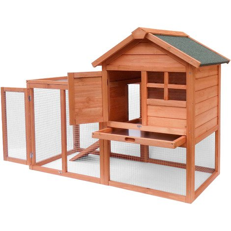 Rabbit hutch Open enclosure Elevated shelter Spruce wood Barn Pet hutch