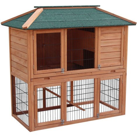 Rabbit hutch Open enclosure in the basement Spruce wood Tar roof Pet hutch