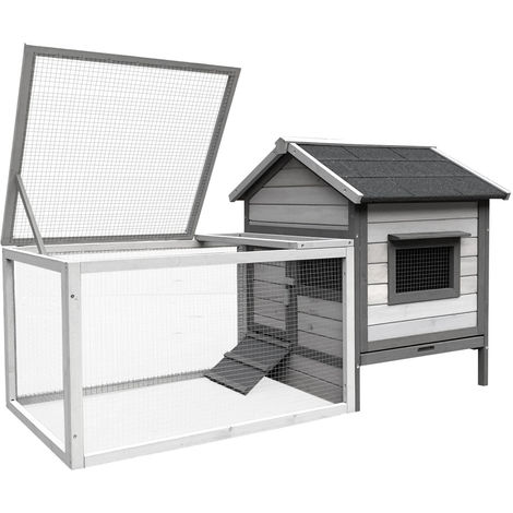 Rabbit Hutch with Open Enclosure made of Pale Grey painted Wood 146x75x83cm & Slide-Out Tray