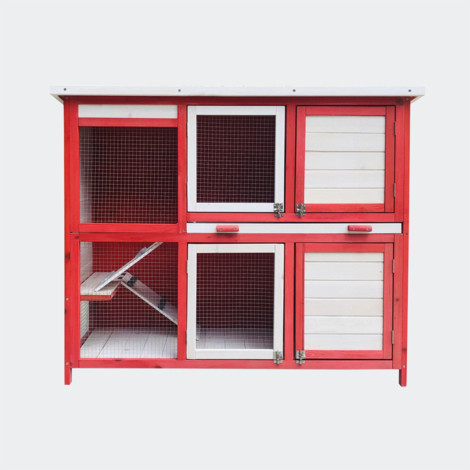 Rabbit hutch with two levels and stairs, pull-out floor, Rot Weiss 117.5 x 41 x 100 cm