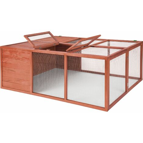 Rabbit run with covered section - brown - marrón