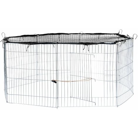 Rabbit run with safety net - guinea pig run, rabbit cage, rabbit pen - black