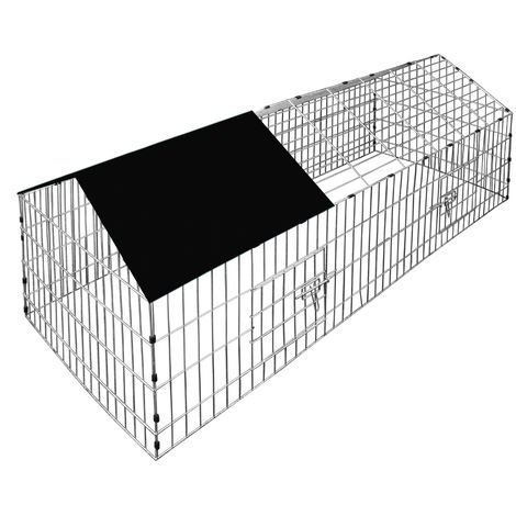 Rabbits Open Enclosure 180 x 75 x 75 cm Black Sun Protection Cover