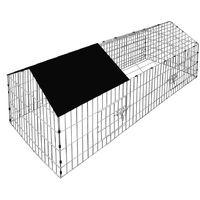 Rabbits Open Enclosure 180 x 75 x 75 cm Black Sun Protection Cover