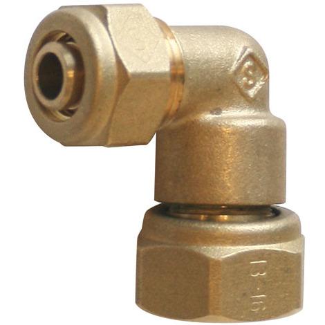 """Raccord à compression tube PER Ø16 - Coude femelle écrou libre 3/4""""(20/27) - Somatherm"""